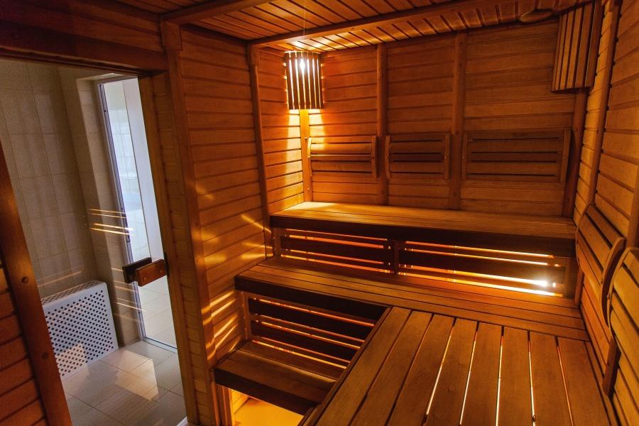 sauna, pokój, drewno, deski, światło, ława
