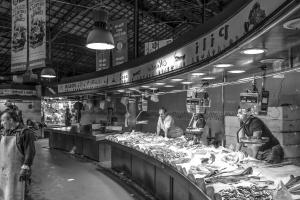 Negozio, carne, lavoratore, uomo, cibo, nutrizione