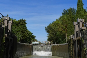 dam, waterfall, concrete, wood, nature, water, construction, metal