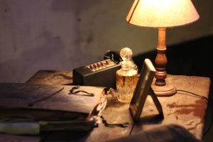 lamp, phone, retro, book, paper, table, picture frame