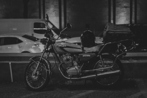 motorcycle, helmet, vehicle, street, car, night