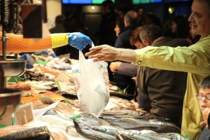 supermarket, fish, store, fresh, bag, hand