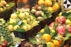 owoce, orange, Kosz, rynku, liść, świeże, jedzenie