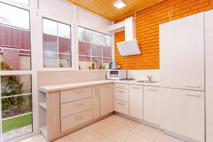kitchen, microwave, furniture, window, interior