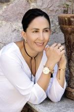 kvinde, armbåndsur, smil, væg, foto model, øreringe