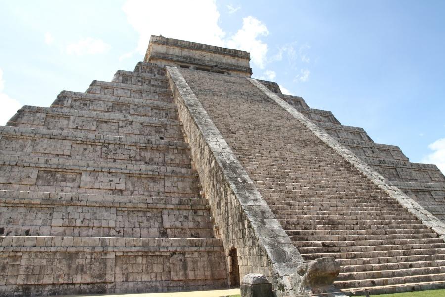 pyramida, obloha, historické, schody, architektura