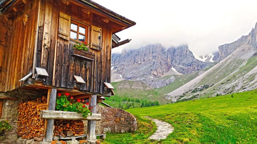 Montagna, parete, casa, legna, finestra, legno, percorso, erba