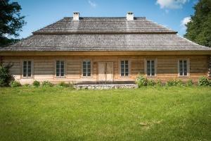 Casa, costruzione, architettura, legno, erba, camino, finestra, nuvola