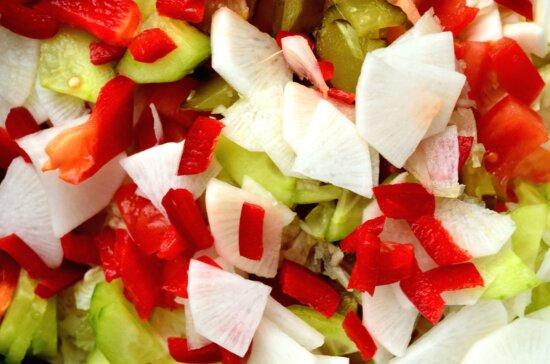 Poivre, oignon, salade, légumes, nourriture, nutrition