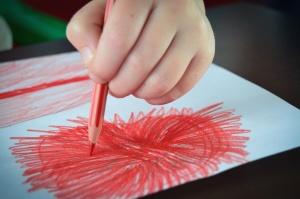 pencil, paint, red, paper, art