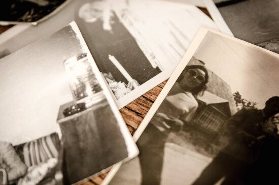 photo, retro, photo paper, table