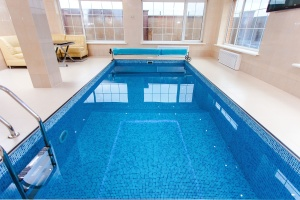 swimming pool, water, interior, table, recreation, window