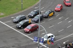 Intersection, voiture, feux de signalisation, asphalte, trafic, véhicule