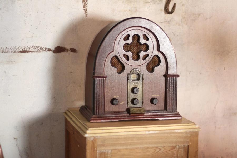 drewno, elektronika, retro, szafa, radio, ściany