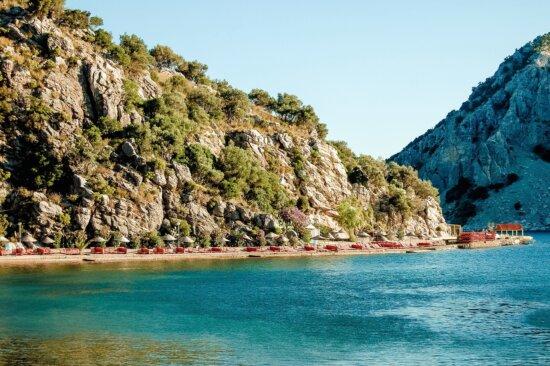 coast, sea, water, cliff, mountain, rock, vegetation