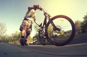 bicycle, wheels, cars, tires, asphalt, man, sky, wood