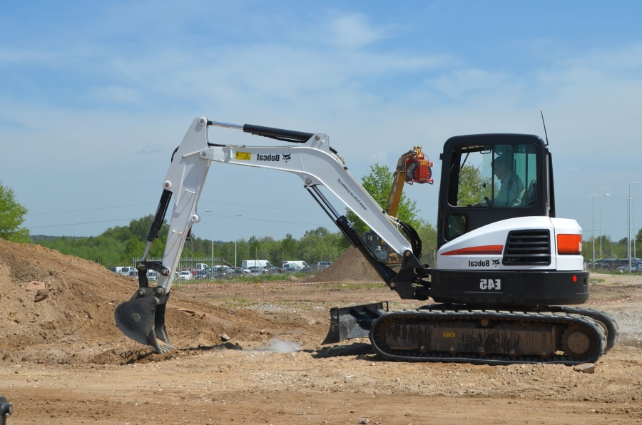 machine, excavator, vehicle, digger, ground, sky