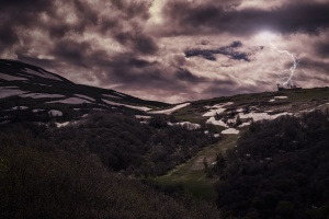 mountain, landscape, sky, travel, cloud, lightning, snow, storm
