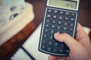 Dispositivo, tecnología, calculadora, mano, dedo