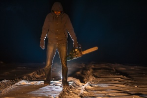chainsaw, snow, man, adult, silhouette