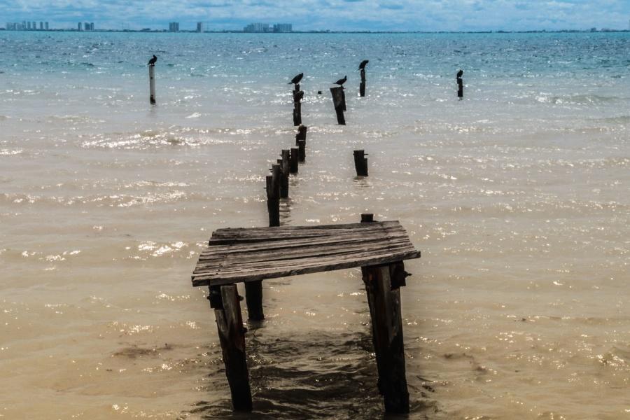 Mer, eau, quai, bois, pilier, côte