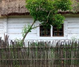Cerca, barrera, estructura, jardín, casa, arquitectura, verano, cielo, hierba, edificio