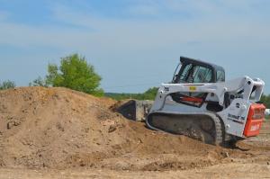Excavadora, tierra, oruga, máquina, cielo, arena