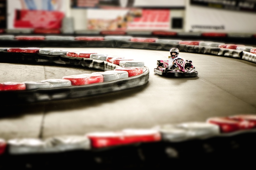 karten, auto, race, snelheid, asfalt, hek, band