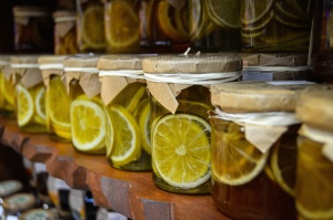 Citron, sucré, pot, nourriture, fruit, dessert, étagère
