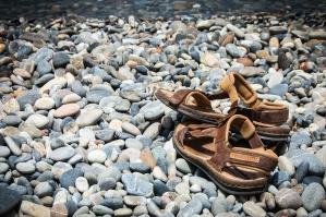 Stone, sandál, obuv, letní, textury, voda