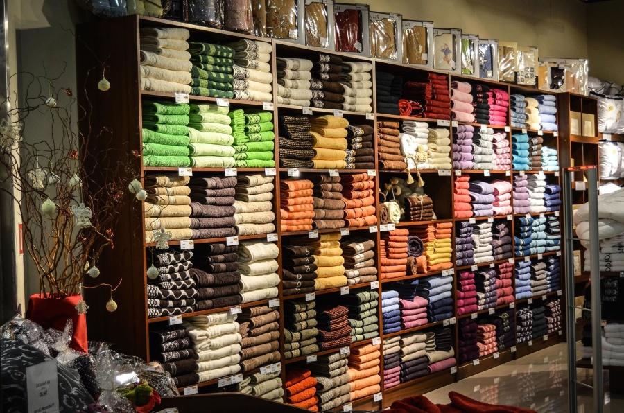 Supermercado, negocio, estante, toalla, pintura, decoración