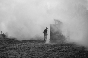 smoke, man, soldier, ground, building, history
