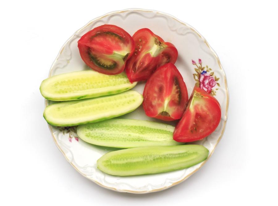 Tomate, Concombre, Assiette, Légumes, Alimentation, Nutrition, Organique