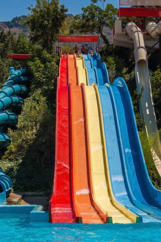 water slide, summer, water, pool, adrenaline, fun, park