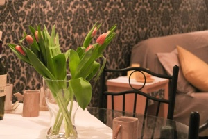 flower, plant, leaf, tulip, bud, table, vase, chair