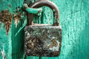 padlock, lock, device, rusty, metal, doors, wood