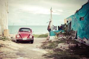 summer, sky, car, road, building, retro, sea, water