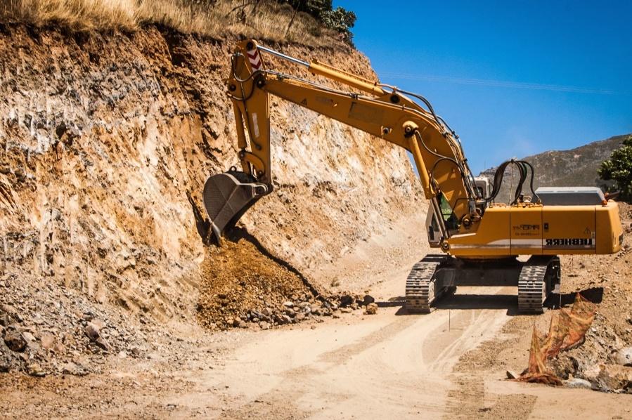 digger, machine, excavator, road, ground, construction, rocks