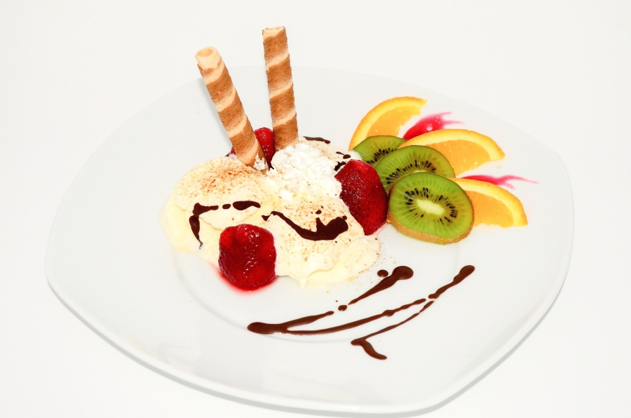 Kiwi, Orange, Eis, Erdbeere, Essen, Teller, Essen, Dessert, Diät, Restaurant