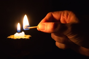 candle, flame, wax, warm, hand, finger, wood