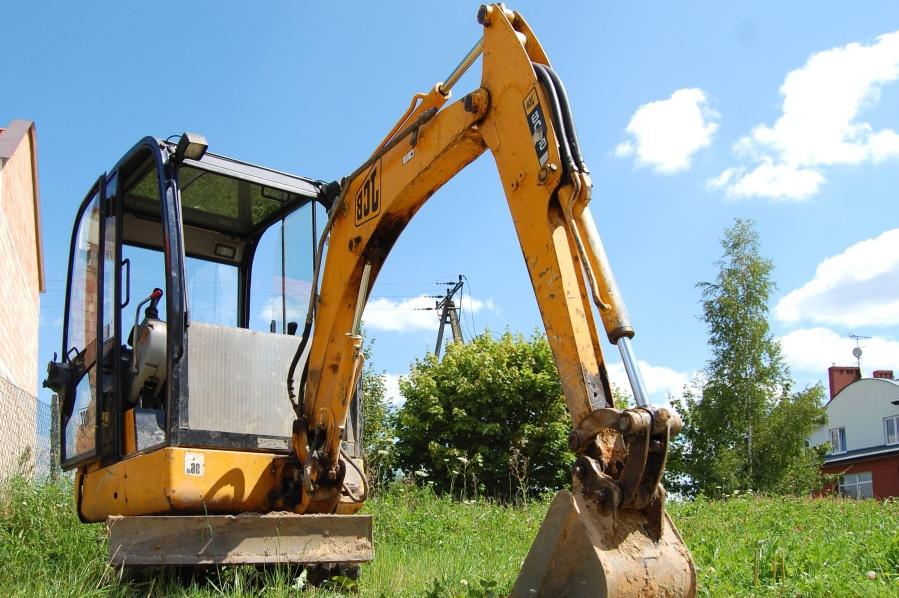 sky, grass, machine, excavator, hydraulics, house