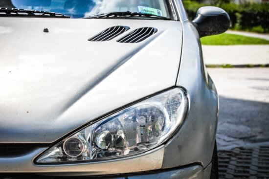 headlight, grille, car, automobile, vehicle, transportation