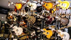 Shop, musik, gitarre, schnur, akustisches instrument, technologie, elektronik