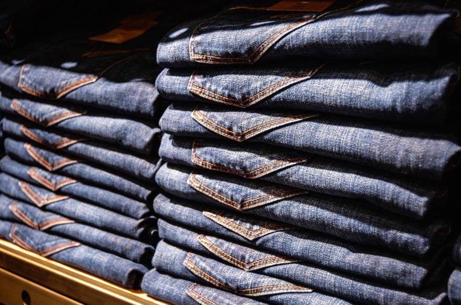 textile, blue, shelf, shop, trousers