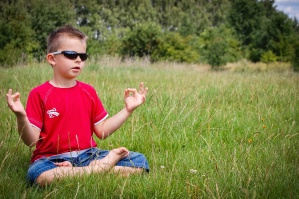 child, boy, grass, meadow, sunglasses, meditation, forest, summer