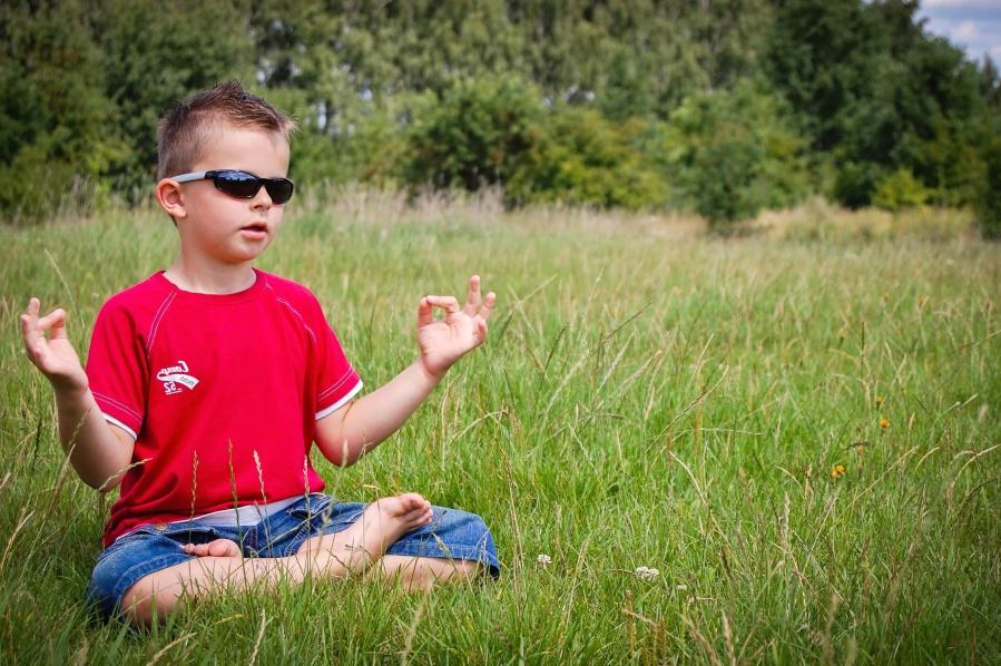 child, boy, grass, meadow, sunglasses, meditation, forest, summer