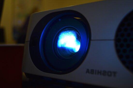 projector, device, computer, technology, black, light bulb, light