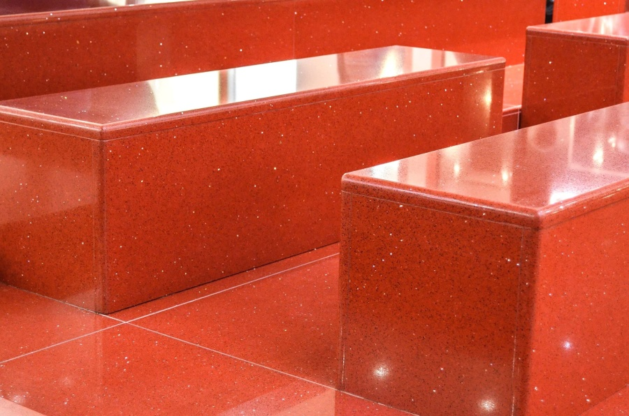 furniture, red, floor, tile, reflection, red, box