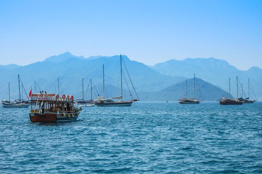 boat, sea, ocean, sail, water, sky, mountain, travel, ship, sailing