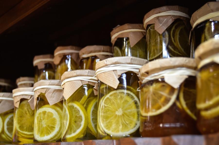 glass, jar, fruit, lemon, sweet, shelf, diet